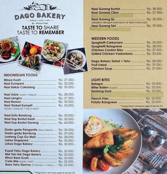 Harga dan Menu Makanan di Dago Bakery Punclut Bandung, Image From @explorewisata