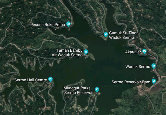 Peta Waduk Sermo, Image From google Maps