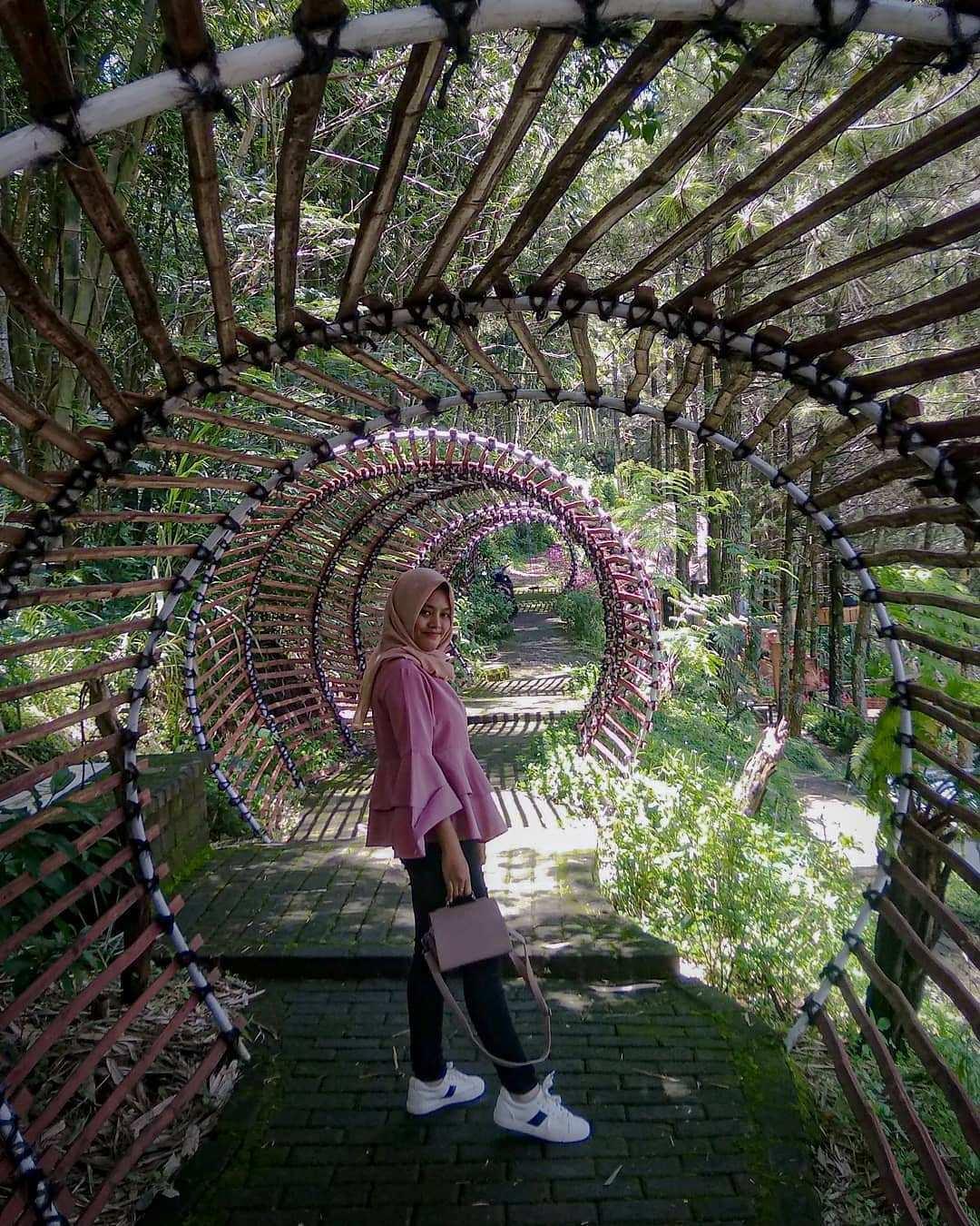 Pemandangan Terowongan Yang Terbuat Dari Bambu di Goa Pinus Pujon Batu, Malang, Image From @zuhriyaha117