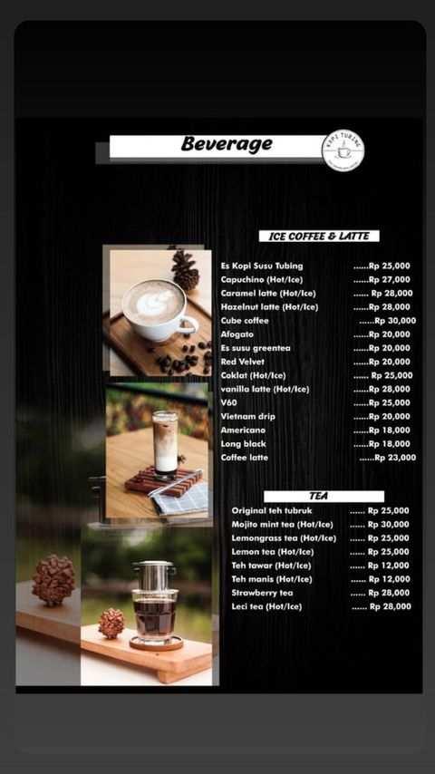 Menu Coffee and Tea di Kopi Tubing Bogor Image From @kopitubing
