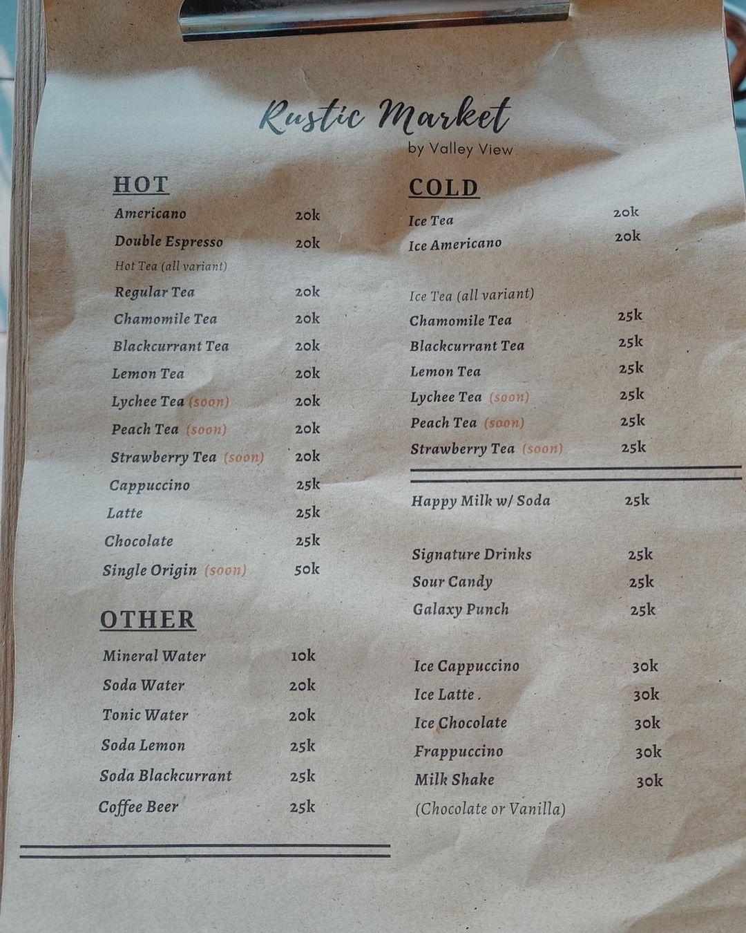 Menu Minuman Di Rustic Market Trawas Mojokerto Image From @niceplace Sub_