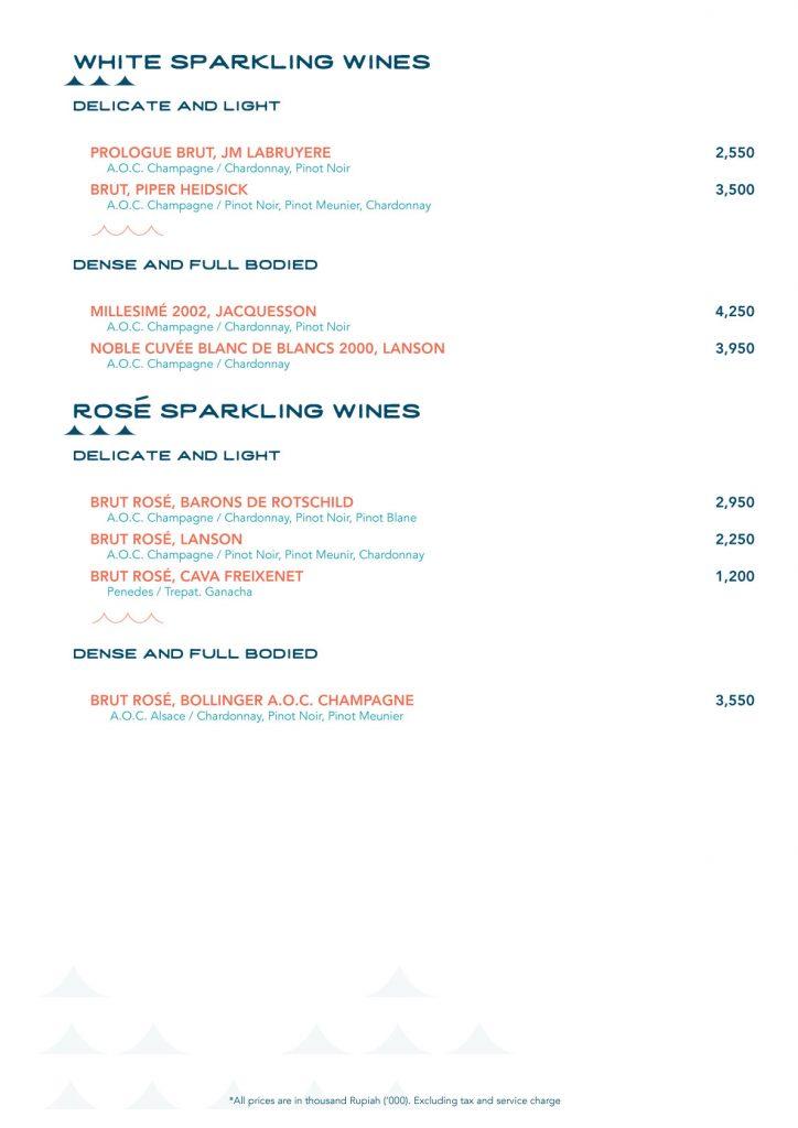 Menu Wines